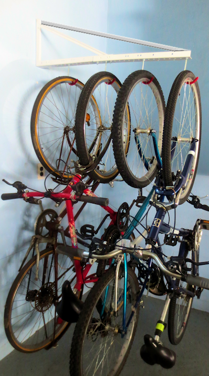Extendable Bike Rack : Garage hanging bicycle rack with extension tidygarage