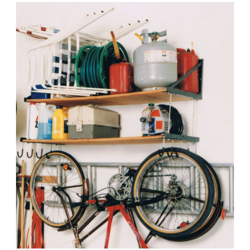 wall mounted garage shelving wall mounted two level garage shelving system tidygarage 174 28096